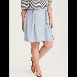 Torrid new lace up chambray colored skater skirt
